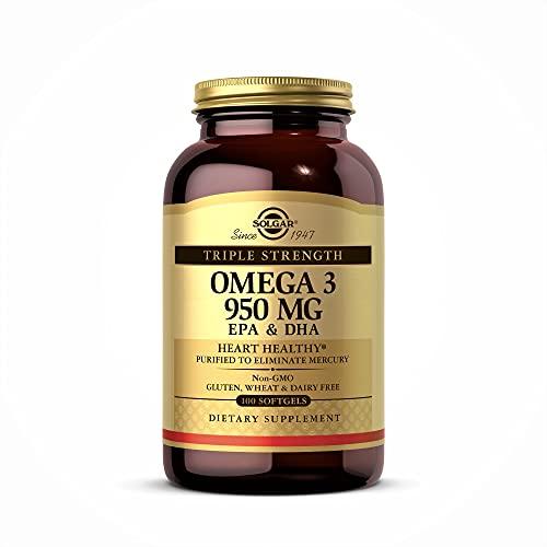 Solgar Omega 3 Triple concentración, Aceite de Pescado Concentrado de Aguas Frías que aporta EPA y DHA, 100 Cápsulas