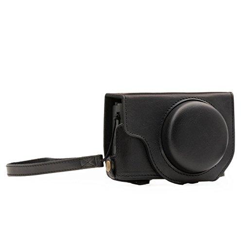MegaGear Panasonic Lumix DMC-LX10 Ever Ready Leder Kamera-Case mit Trageriemen und Batteriezugang schwarz MG1132