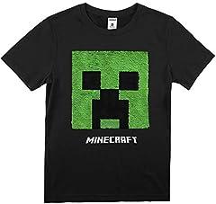 Minecraft Camiseta Manga Corta Niño Lentejuelas Reversibles