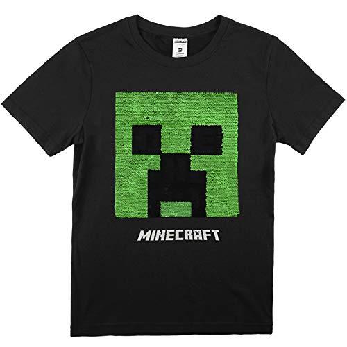Minecraft T-shirt, zwart T-shirt jongens, origineel logo met creeper, korte mouwen bovendeel met pailletten, katoen, cadeaus voor kinderen en jongeren, coole spullen voor tieners