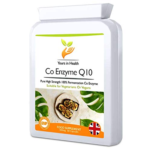 Co Enzyme Q10 Supplements - Vegetarian Vegan Suitable - 100% Natural Vitamin CoEnzyme Q10 - Ideal for Health Energy Boost Cardio Support - 300mg (60 CoQ10 Capsules)