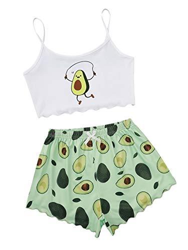 DIDK Conjunto de pijama Cami para mujer, con tirantes finos, parte superior corta, pijama de verano Aguacate Blanco Verde S