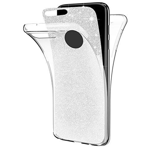 QPOLLY Cover Compatibile con iPhone 7 Plus/8 Plus Trasparente 360 Gradi Silicone Morbido Custodia Glitter Brillantini Cover Ultra Sottile Totale Davanti e Dietro Gel Custodia,Argento