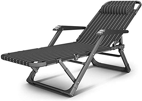 FANHE Sonnenliege Liege Klappstuhl Sessel Siesta Stuhl Massagesessel, Black Strip