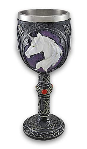 Pewter Look Celtic Knot Unicorn Head Wine Goblet