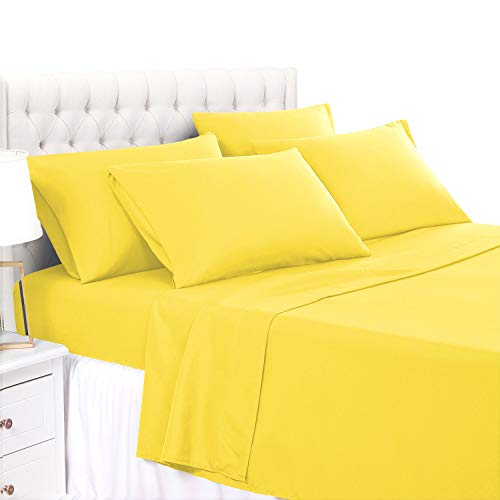 BASIC CHOICE 6 Piece Sheet Set - Luxury Soft 2000 Series Hypoallergenic, Wrinkle & Fade Resistant Bed Queen Sheet, Yellow