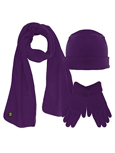 Purple 3 Piece Fleece Hat Scarf & Glove Matching Set
