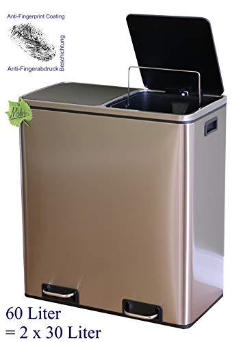 Made for us 60 L Edelstahl Tret-Abfalleimer 2x30 L Mülleimer 2-Fach Mülltrennung 2er Müll-Trennsystem 60 Liter Abfallsammler zur Abfall-Trennung Pedal-Treteimer original