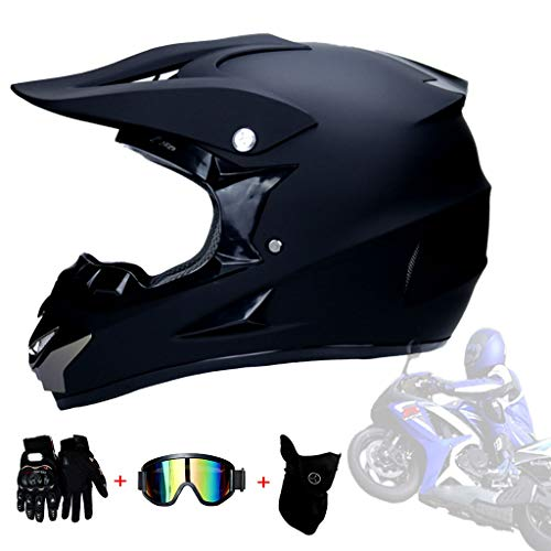 AMINSHAP Cross Country Motorhelm voor heren, cross country, motorhelm, scooterhelm, DOT-certificering, kinderen, quad ATV Kart helm handschoenen + bril + masker zwart mat