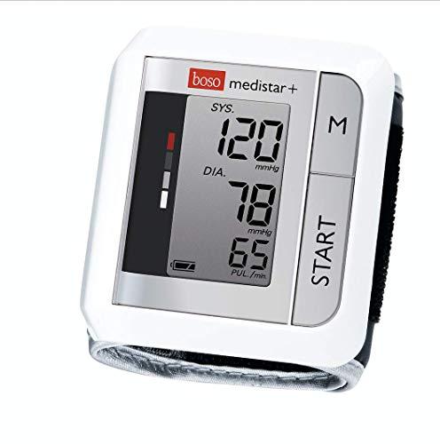 boso medistar+ – Handgelenk Blutdruckmessgerät mit Speicher für 90 Messungen, extra großem Display und Arrhythmie-Erkennung – Inkl. Handgelenkmanschette (13,5-21,5 cm)