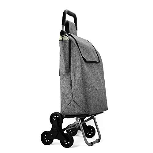 Cosaving Shopping Trolley on 3 Wheels Foldable Shopping Cart Lightweight Durable Grocery Utility 40L Cart Stair Climber with Removable Large Capacity Bag Grey