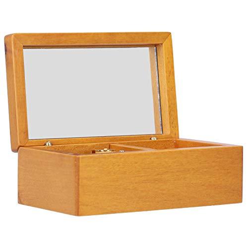 Astibym Caja de Almacenamiento de Joyas, Good Melody Decorate Tocador Caja de música con Espejo con Espejo para el día de la Madre para cumpleaños Navidad(Color Madera, Pista: Historia de Amor, Azul)
