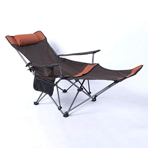 L&T Tragbare Campingstühl Liege,verstellbar Außen Klappstuhl Mit Fußstütze,faltstuhl Für Wandern Strand Garten Apfelsine