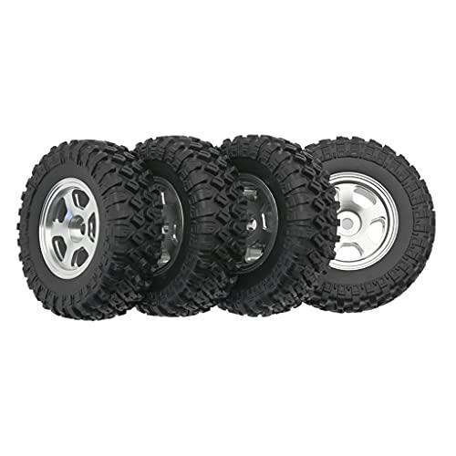 Hellery 4 Uds 1:24 Llantas de Rueda a Escala, neumáticos de Repuesto para Piezas de Repuesto para Axial SCX24 2401 RC, Piezas de Repuesto para Coches de - Plata