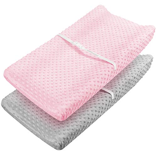 Changing Pad Cover - Babebay Ultra Soft Minky Dots Plush Changing Table Covers Breathable Changing Table Sheets Wipeable Changing Pad Covers Suit for Baby Boy and Baby Girl