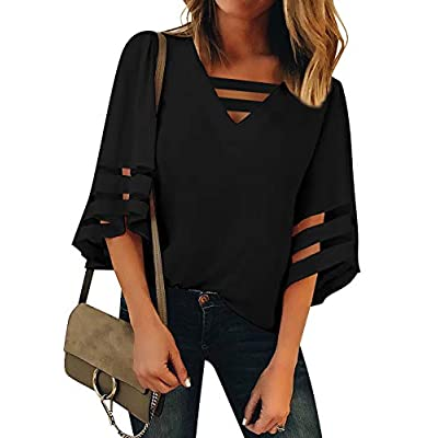 Amazon - Save 30%: LookbookStore Women's Casual V Neck Mesh Panel Blouse Tops 3/4 Bell Slee…