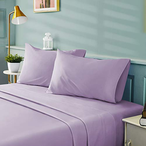 BYSURE 4 Pieces Queen Bed Sheet Set - 1800 Soft Durable Brushed Microfiber, 15 Inch Deep Pockets, Wrinkle & Fade Resistant (Queen, Lavender)