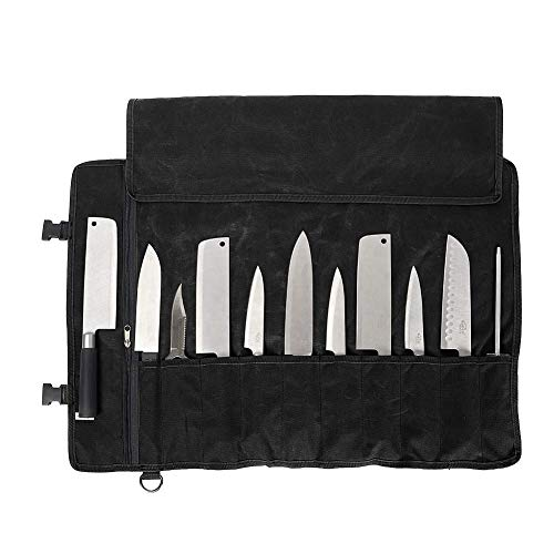 Photo of QEES Chefs Knife Roll Bag 11 Slots, Heavy Duty Waxed Canvas Knife Bag, Waterproof Knife Case for Camping, Hiking, Multi-function Tool Roll Bag (Black)