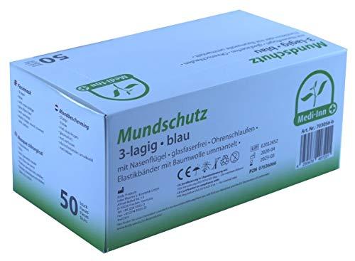 Medi-Inn Mundschutz Atemschutz Gesichtsmaske Einwegmaske mit Elastikbändern Typ II 3-lagig blau (50 Stück)