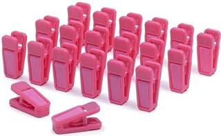 Only Hangers Slim-Line Set of (20) Finger Clips (Hot Pink)