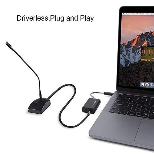 CableCreation USB C Audio Adapter, Typ C auf Audio Konverter, USB-C Externe Soundkarte für Windows, Mac, Linux Extra, Plug-und-Play, Keine externen Treiber, Schwarz