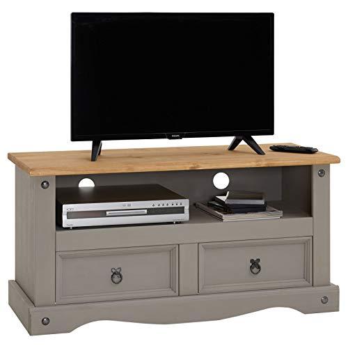 CARO-Möbel TV Lowboard Ramon Fernsehtisch Mexiko Stil Kiefer massiv, 2 Schubladen, 1 offenes Fach grau/Natur