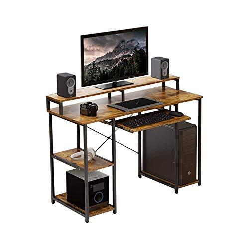Tulib ComputerDeskwithStorageShelves, Brown