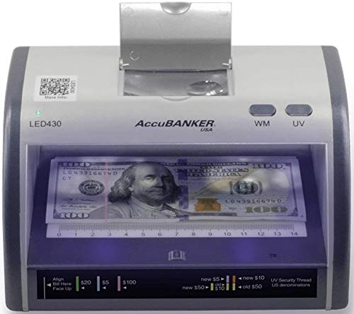 AccuBANKER Cash + Card Counterfeit Detector LED430 Money Checker with Superbright LEDs Ultraviolet, Magnetic & Size…