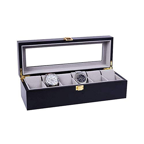 DJY-JY Watch Display Storage Box Watch Box 6-person Wooden Piano Painting Storage Glass Display Watch Box (Color : Black, Size : S) (Color : Black, Size : Small)