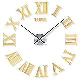Yosoo DIY Horloge Murale design géant 3D Miroir autocollants mural Horloge silencieuse Décoration de Chambre Salon avec chiffres romains Or