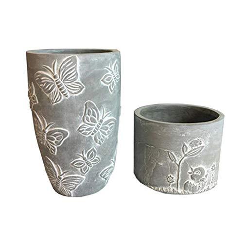 Hjyi Maceteros, Ollas de flores en relieve vintage, cermica personalidad creativa simple europea, cemento hogar