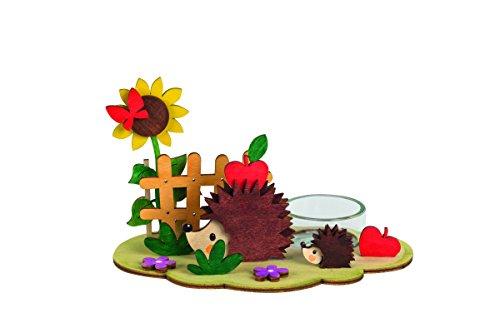 Drechslerei Kuhnert - Hobaku Teelichtbaum/Teelichthalter/Teelichtbogen - Herbst mit Igel - aus Holz zum Zusammenbauen - Made in Germany