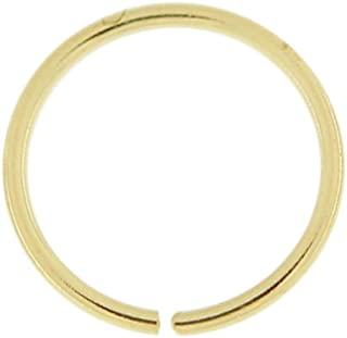 9 Karat Solid Gold 22 Gauge (0.6MM) - 1/4 Inch (6MM) Length Seamless Continuous Nose Hoop Ring