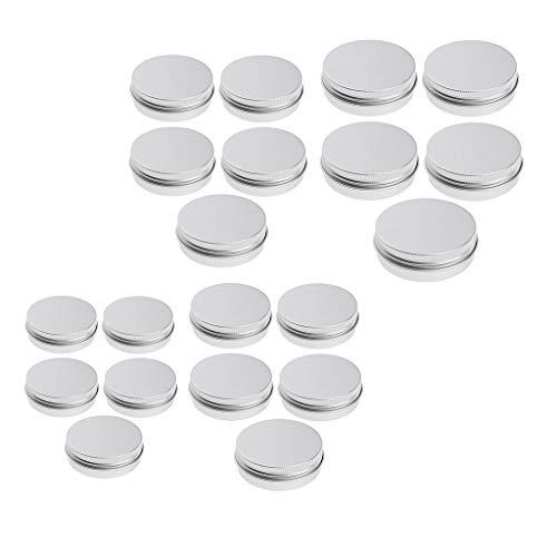 Fenteer 26 Pièces Boîte Ronde Pot Vide Rechargeable en Aluminium Contenant Poudre Nail Art Crème Cosmétique