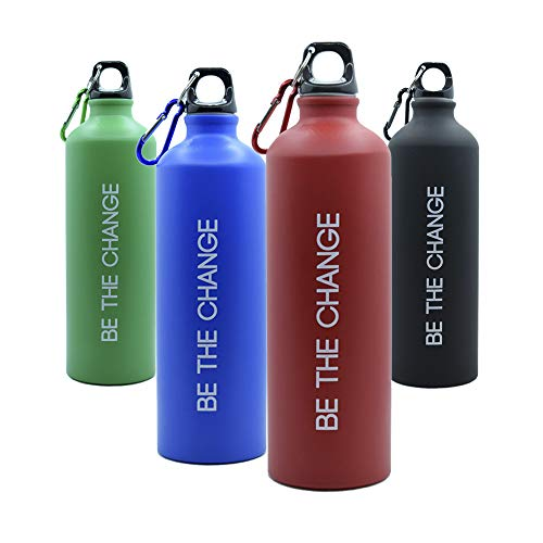 Botella de Agua 800ml, Aluminio - Muy Ligera, Ideal para Deporte, Trabajo y Colegio (Red)