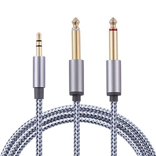 3,5 mm Klinke auf Doppel 6,35 mm Mono Y Audio Splitter Kabel, Stereo Audiokabel Vergoldet, geeignet für Mixer, Gitarre, Verstärker, Laptop Multimedia-Lautsprecher und Heimstereosysteme【1m】