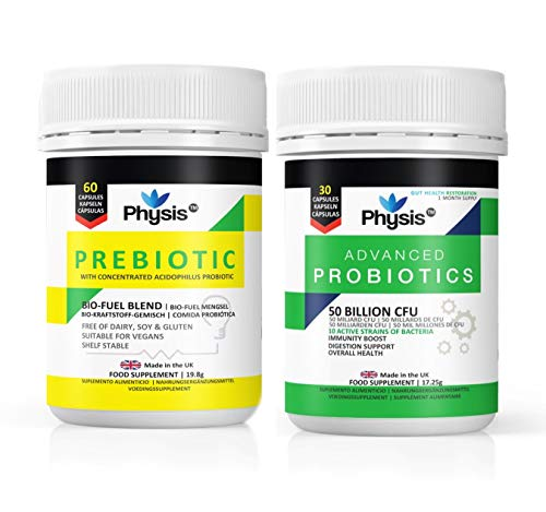 Physis Advanced Probiotics and Prebiotic Bio Cultures Combo - 30/60 Capsules | Bloated Stomach Relief Tablets | Dairy Free Probiotics Treatment for Digestion | Prebiotics & Probiotics for Adults