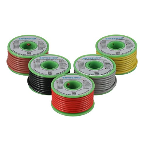 BNTECHGO 16 Gauge Silicone Wire Kit Red Black Yellow Brown and Gray Each 25ft 16 AWG Stranded Wire