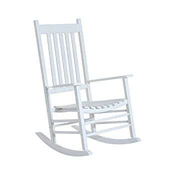 Outsunny Versatile Wooden Indoor/Outdoor High Back Slat Rocking Chair Reclining Seat - White