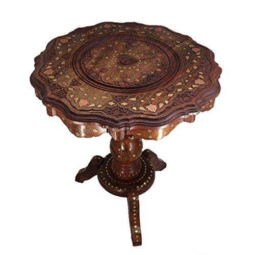Fab Furnish Sheesham Handmade Round Pedestal Accent Side/End Table with Brass Carving (Large) (21')