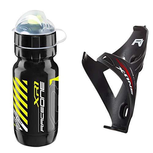 Raceone.it - Kit Race Duo X1 Matt: Portaborraccia X1 + Borraccia XR1 Ideale per Bici Race MTB Gravel Trekking Bike. Colore: Nero Giallo 100% Made in Italy (RO_Kit_2_X1_M_B_Blk Y