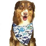 XCNGG Bandana di Pesce Blu dell'acquerello Sciarpe per Animali Domestici Bavaglini Lavabili Bandane con Fazzoletto a Triangolo per Cani per Accessori per Cani Piccoli e Grandi