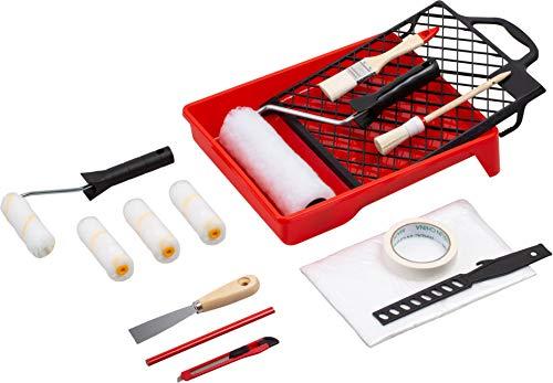 Werkzeyt Renovierungs-Set 17-teilig - Umfangreiche Werkzeuge & Hilfsmittel zum Renovieren & Streichen - Mit Farbwalzen, Pinseln, Farbwanne, Abdeckmaterial & Co / Malerbedarf / Maler-Set / B21626