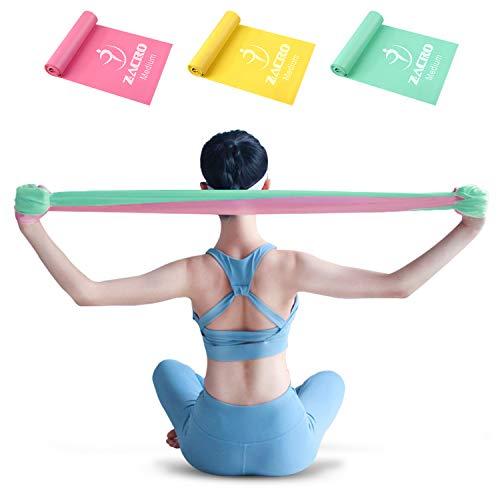 Zacro Widerstandsband Set, 3 Fitnessbänder aus 100{458f8814b21c34016ff24fd86e8d6b6e62b9533365a55130ff8240391fe55ad7} Naturlatex für Krafttraining, Yoga, Pilates, Fitness, Heimtraining, 1.8M