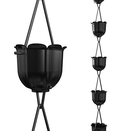 Cadenas de lluvia de flautas directas, 8.5 pies de longitud, aluminio, recubierto de polvo negro, reemplazo funcional y decorativo para canalones bajantes
