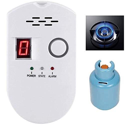 Natural Gas Detector Home Gas Alarm Gas Leak Detector High Sensitivity LPG LNG Coal Natural Gas Leak Detection Gas Leak Alarm Monitor Sensor Off-White