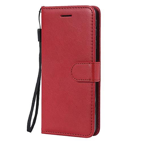 Hülle für Nokia 1Plus Hülle Handyhülle [Standfunktion] [Kartenfach] Tasche Flip Hülle Cover Etui Schutzhülle lederhülle flip case für Nokia 1 Plus - DEKT051419 Rot