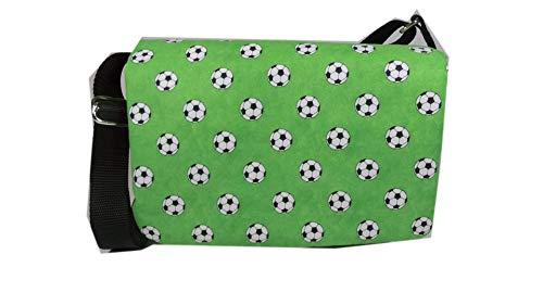 Kindergartentasche Tasche Kindertasche Sport Fussball Fußball schwarz grün kariert grau Ball weiß kariert Karo handmade