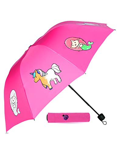 Purple Ladybug Pink Color Changing Kids Umbrella for Girls - Cute Toddler Umbrella Displays Colorful Mermaid & Unicorns When it Rains - Small Portable Compact Umbrella, Great Gift Idea for Girl