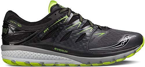Saucony Zealot ISO 2, Zapatillas Deportivas de Correr para Hombre., (Black/Grey/Slime Green), 8,5 D(M) US